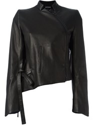 Ann Demeulemeester Asymmetric Leather Jacket Black