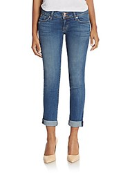 Hudson Ginny Straight Leg Cuffed Ankle Jeans Blue