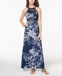 Emerald Sundae Juniors' Illusion Maxi Dress Navy Ivory Floral