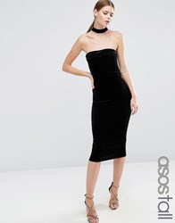 Asos Tall Velvet Choker Midi Pencil Dress Black