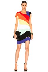 Thierry Mugler Technical Cady Dress In Abstract Orange Purple Red Yellow Abstract Orange Purple Red Yellow