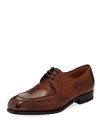 Salvatore Ferragamo Pavia Special Edition Lace Up Sharkskin Shoe Brown