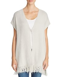 T Tahari Nora Fringed Cardigan Pale Grey