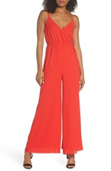Ali And Jay Lily Pond Faux Wrap Jumpsuit Red