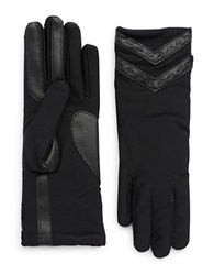Isotoner Leather Accented Chevron Tech Gloves Black
