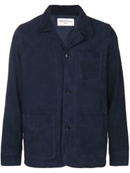 Officine Generale Fitted Button Jacket Blue
