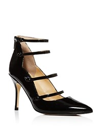 Ivanka Trump Dritz Patent Leather Strappy Pointed Toe Mary Jane Pumps 100 Bloomingdale's Exclusive Black