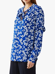 Ghost Emmy Tie Neck Blouse Avadine Floral Navy