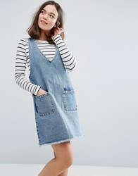 Monki V Neck Denim Dress Blue