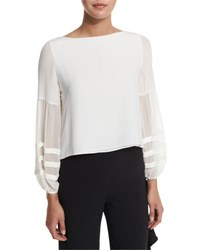 Alexis Maise Chiffon Sleeve Blouse Off White