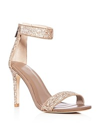 Joie Adriana Glitter Ankle Strap High Heel Sandals Gravel Gold