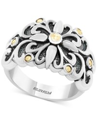 Effy Balissima Flower Ring In Sterling Silver And 18K Gold Two Tone