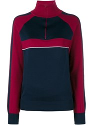 Chloa Knitted Silk Track Top Red