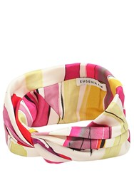 Eugenia Kim Malia Striped Satin Headband Pink Red