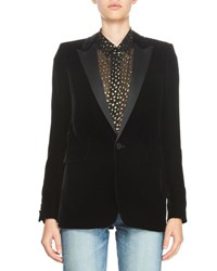 Saint Laurent Velvet One Button Blazer Black
