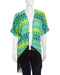Romeo And Juliet Couture Tie Dye Kimono Shirt Aqua Lime Black