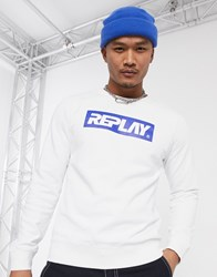 Replay Contrast Logo Crew Neck Sweat In White