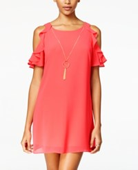 Amy Byer Bcx Juniors' Cold Shoulder Ruffled Shift Dress With Necklace Grapefruit