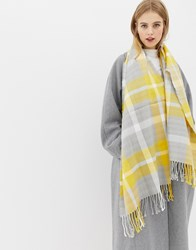 Miss Selfridge Oversized Scarf In Check Yellow