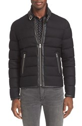 The Kooples Men's Leather Trim Flannel Down Jacket