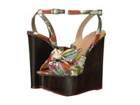 Charlotte Olympia Miranda Fruit Salad Mahogany Printed Linen Wood Women's Wedge Shoes Multi