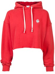 Re Done Cropped Raw Hoodie Red