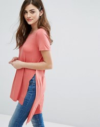 Only Jewel Slit Tunic T Shirt Faded Rose Pink