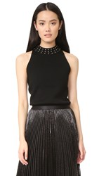 Ramy Brook Valery Studded Ribbed Sweater Black
