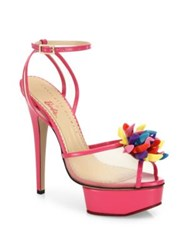 Charlotte Olympia Pomeline Barbie Shoe Mesh And Patent Leather Platform Sandals Pink