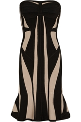 Herve Leger Strapless Two Tone Bandage Dress
