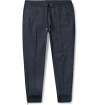 Moncler Navy Slim Fit Tapered Nylon And Cotton Blend Drawstring Trousers Blue