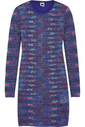 M Missoni Crochet Knit And Cotton Jersey Mini Dress Purple