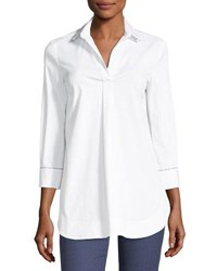 Piazza Sempione Collared Long Sleeve Cotton Poplin Shirt With Beading White