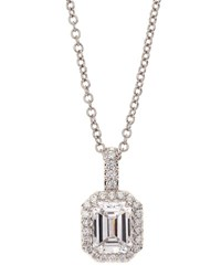 Fantasia Asscher And Pave Cubic Zirconia Pendant Necklace
