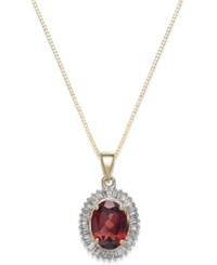Macy's Rhodolite Garnet 1 1 2 Ct. T.W. And Diamond 1 3 C.T.T.W. Swirl Pendant Necklace In 14K Gold Yellow Gold