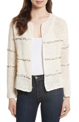 Joie Women's Jacquine Embellished Open Front Cardigan Natural
