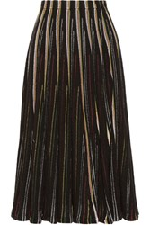 Adam By Adam Lippes Striped Open Knit Cotton Blend Midi Skirt Black