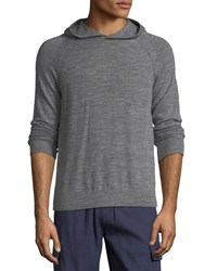 Vince Seamed Heathered Knit Pullover Hoodie Smoke