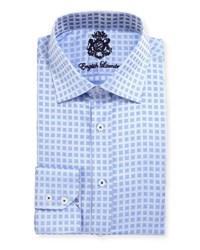 English Laundry Square Print Cotton Dress Shirt Blue