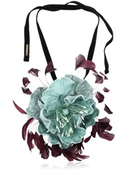 Dries Van Noten Velvet Floral Necklace