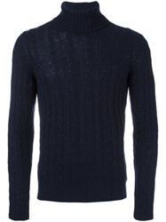 Zanone Cable Knit Turtleneck Jumper Blue
