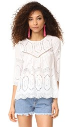 Liv Ellis Eyelet Top White