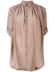 Pas De Calais Gathered Oversized Shirt Women Silk Cotton 38 Nude Neutrals