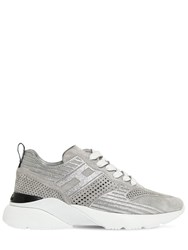 Hogan 40Mm Active One Perforated Suede Sneaker Silver