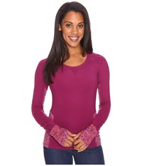 Marmot Lana Long Sleeve Crew Magenta Magenta Terrain Women's T Shirt Red