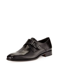 Salvatore Ferragamo Modugno Calfskin Single Monk Strap Loafer Black Men's Size 9.5B