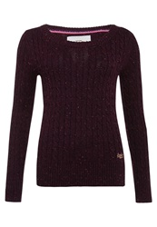 Superdry New Croyde Cable Crew Neck Jumper Purple