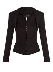 Balmain Hook And Eye Front Suede Jacket Black