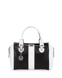 Charles Jourdan Kabrina Two Tone Satchel Bag Black White