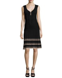 Nanette Lepore Sleeveless Ribbed V Neck Dress Black